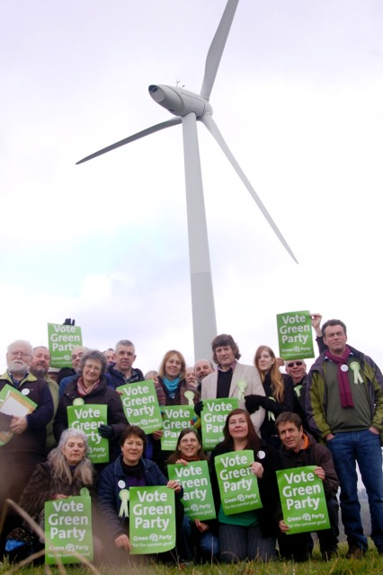 Candidates at wind turbine